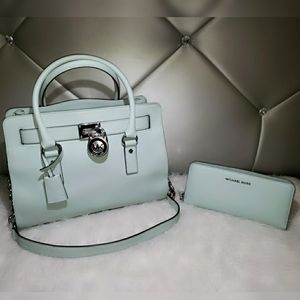 Michael Kors Pastel Green Hamilton With Wallet.
